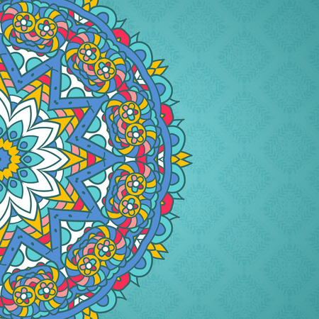 colorful: Decorative background with colourful mandala design Stock Photo
