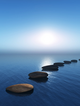 3D render of stepping stones in the ocean Stock Photo