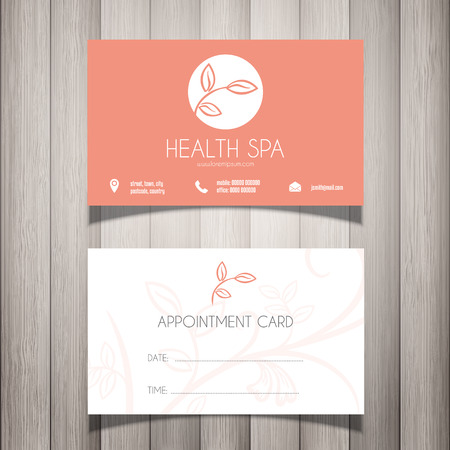 health spa: Health Spa or beautician business card  appointment card Stock Photo