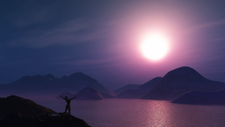 outstretched: 3D render of a female with her arms outstretched against a purple sunset sky