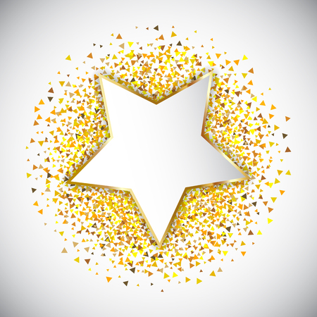 Confetti background with gold star