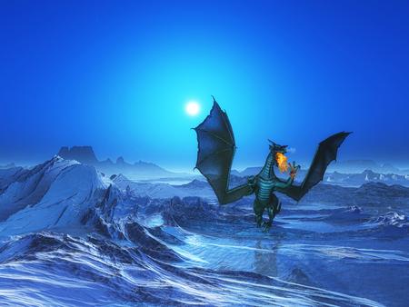 sundown: 3D render of a fire breathing dragon in icy landscape Stock Photo