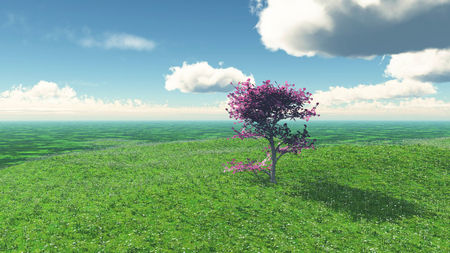 3D render of a tree in a grassy landscape Stock Photo