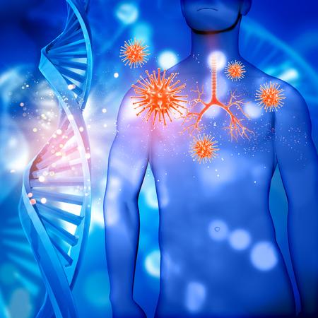 3D render van een medische mannelijke figuur met bronchiën gemarkeerd, viruscellen en DNA-strengen Stockfoto