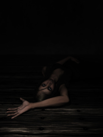outstretched: 3D render of a female laying on floor with arm outstretched in fear