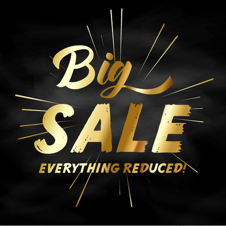 retail sales: Sale background with gold wording on chalkboard texture