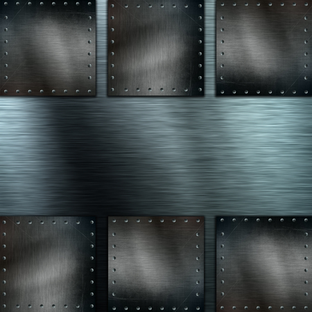 silver texture: Silver brushed metal background with grunge metallic plates Stock Photo