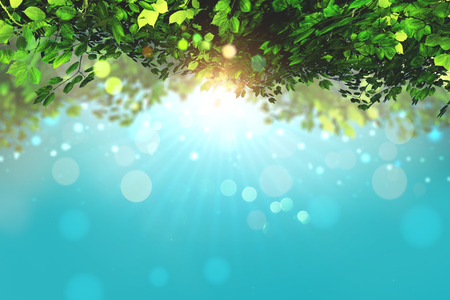defocussed: 3D render of leaves on a blue sky background with bokeh lights