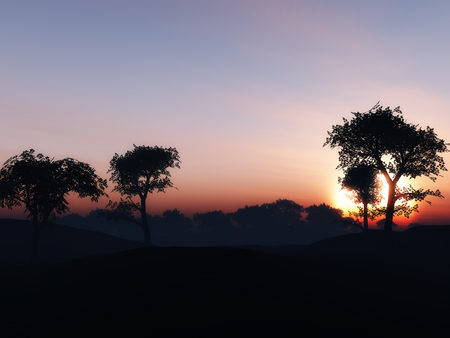 calmness: 3D render of a tree landscape against a sunset sky Stock Photo
