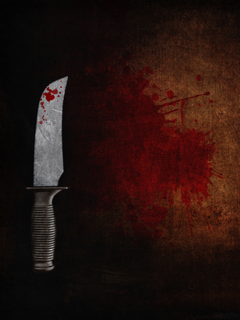 suspenso: 3D render of a bloody knife on a bloodstained grunge background Foto de archivo