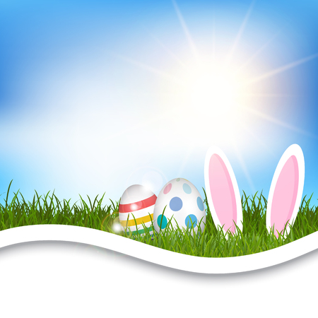 animal ear: Easter background with eggs and bunny ears in grassy landscape Stock Photo