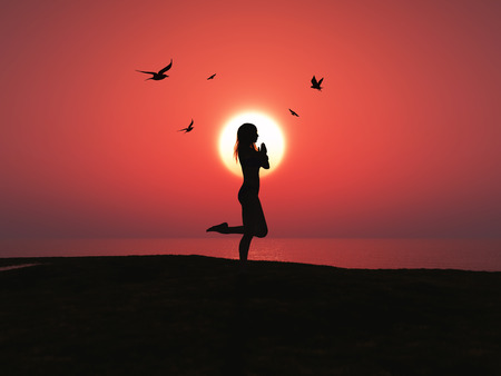 sunset beach: 3D render of a female in yoga pose against sunset sky with birds flying in the sky