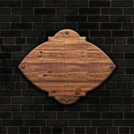 sign: 3D render of a blank wooden sign on a brick wall