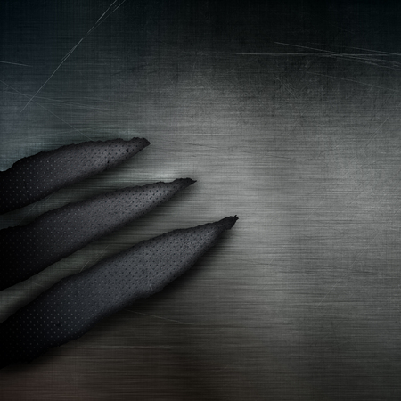 metal parts: Dark grunge style perforated metal background with torn parts Stock Photo