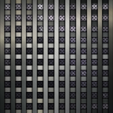 perforated: Metallic grid on a perforated metal background Stock Photo