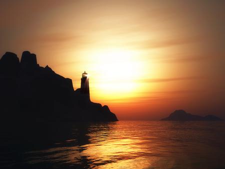 3D render van een landschap met vuurtoren bij zonsondergang