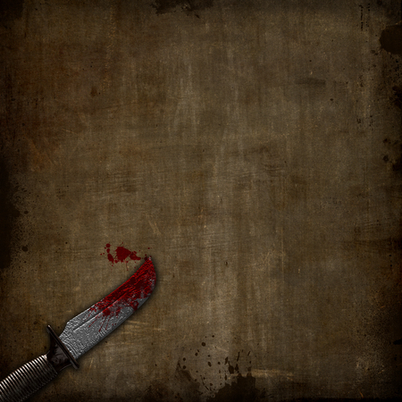 3D render of a bloody dagger on a grunge background Фото со стока