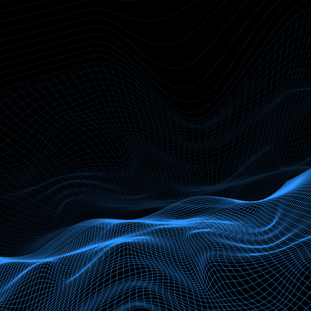 Abstract background with wireframe terrain design