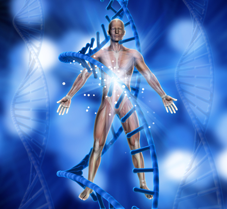 3D render of a medical background with male figure and DNA strands