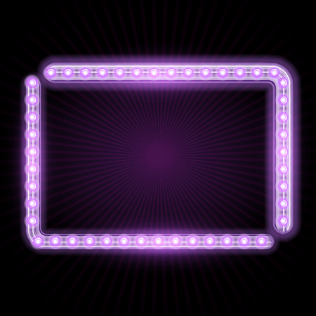 fluorescent lights: Neon frame with glowing lights and starburst Stock Photo