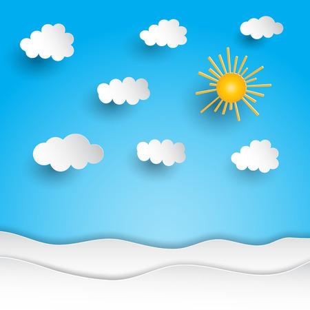 sunshine: Sunny landscape with paper cut out design