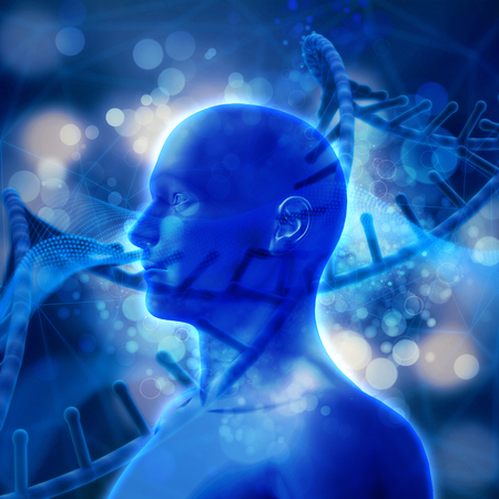 microcosmic: 3D render of a medical background with DNA strands and male head