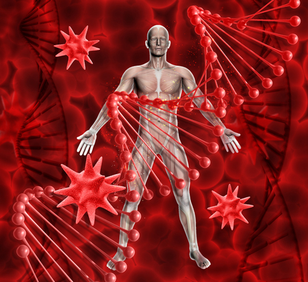 3D render of a medical background with male figure, DNA strands and virus cells