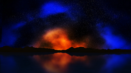 colourful sky: 3D render of a landscape with colourful night sky Stock Photo