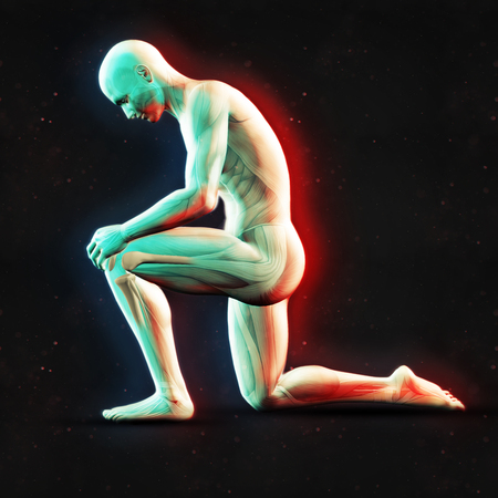 3D render of a male figure holding knee with dual colour effect