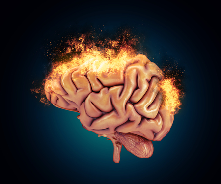 microcosmic: 3D render of a brain with flames