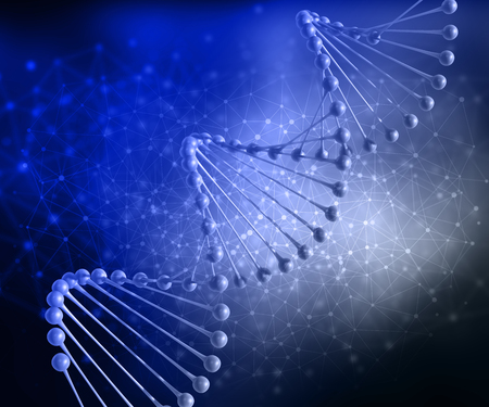 virus cell: 3D render of a medical background with DNA strand and connecting dots