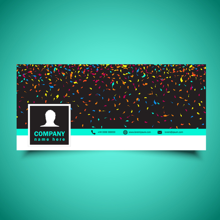 Decorative social media timeline cover with confetti design