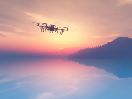 rende: 3D rende of a drone flying over a sunset ocean Stock Photo