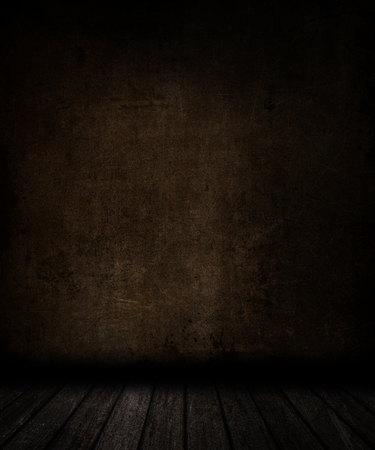 murdering: 3D render of a grunge room interior with stained wall and floor Stock Photo