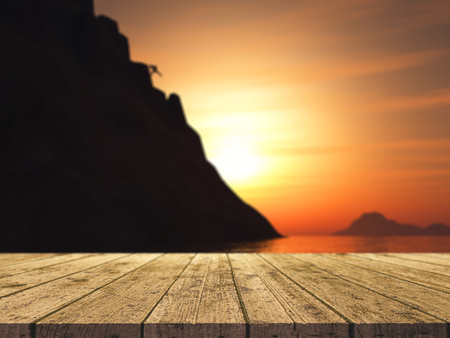 free range: 3D render of a wooden table looking out to a rock climber climbing a large mountain Stock Photo