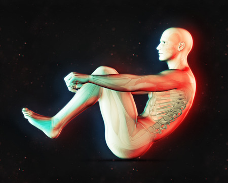 3D render of a male figure in sit up position with dual colour effect