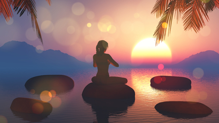calmness: 3D render of a female in yoga pose against sunset sky Stock Photo