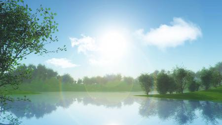 川岸に対して木々 の風景の 3 D レンダリングします。