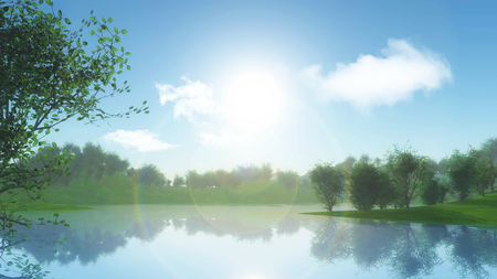 3D render of a landscape with trees against riverbank