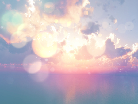calmness: 3D render of an ocean against a sunset sky with vintage effect