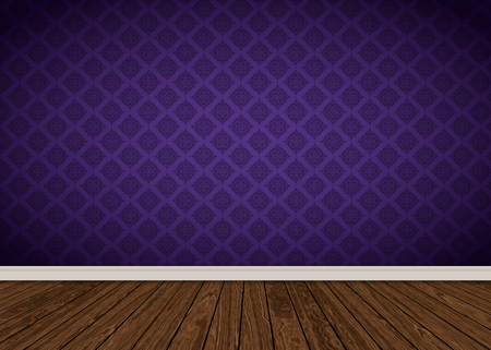 Room interior with purple damask wallpaper and wooden floor Stock Photo