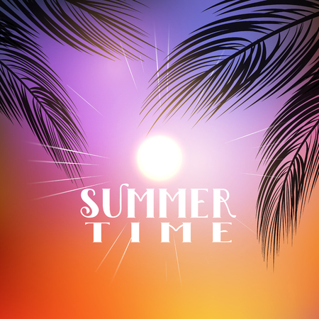 defocussed: Summer themed background with palm tree branches