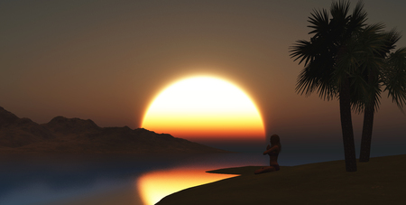 calmness: 3D render of a female in yoga pose on the beach at sunset