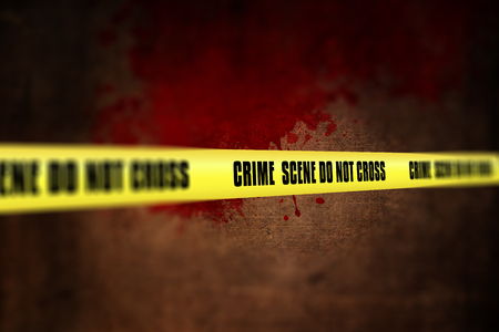 defocussed: 3D render of a crime scene tape against defocussed background Stock Photo