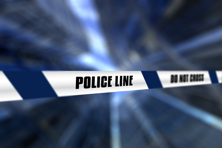 defocussed: 3D render of a police line tape against defocussed background