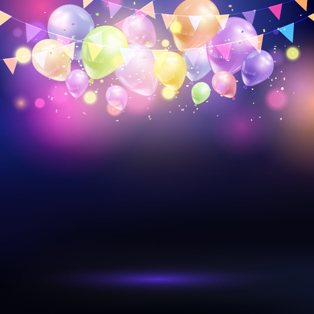 Celebration background with balloons and bunting Stock Photo