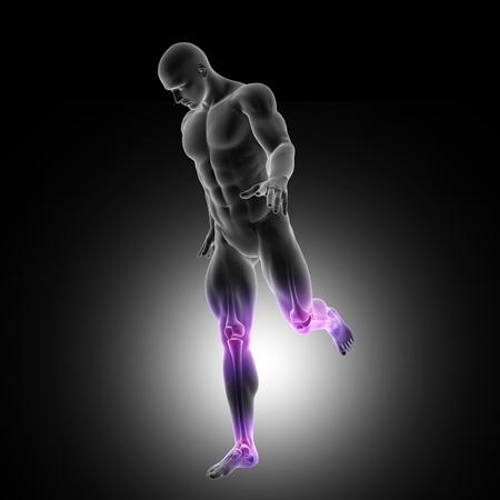 강조 표시 된 다리 관절을 실행하는 남성 그림의 3D 렌더링