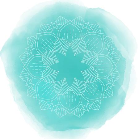 Decorative mandala design on a watercolour texture Stock Photo