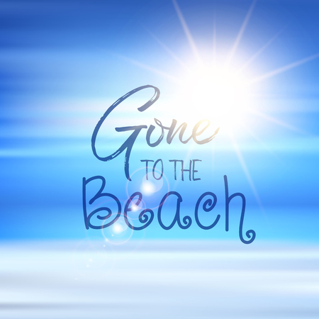 Gone to the beach quote on a defocussed summer background Banco de Imagens