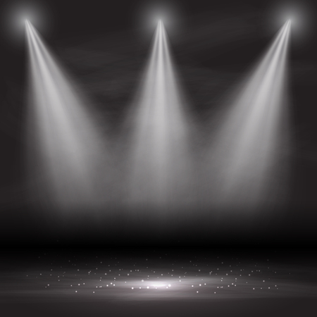 Three spotlights shining down in an empty room Imagens